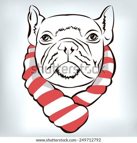 dog vector breed cute pet animal scarf - stock vector