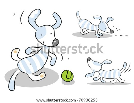 dog vector set isolated on white - stock vector