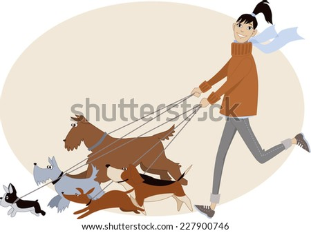Dog walker. Young woman running with a group of dogs of different breeds, vector cartoon, no transparencies  - stock vector