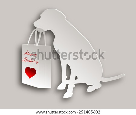 Dog with birthday gift - stock vector