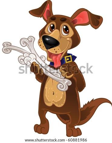 Dog with bones - stock vector