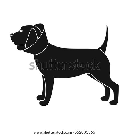 Guide Dog Icon Black Silhouette Animal Stock Vector
