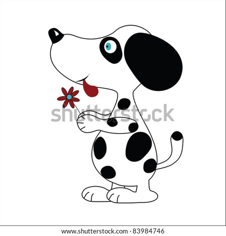 dog with flower - stock vector