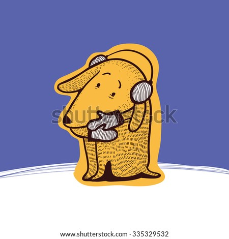 Dog with gloves and ear muffs looking cold and pitifully at winter. Vector illustration. - stock vector