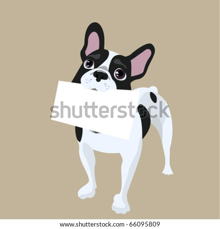 dog with message paper - stock vector