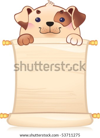 Dog with scroll - stock vector