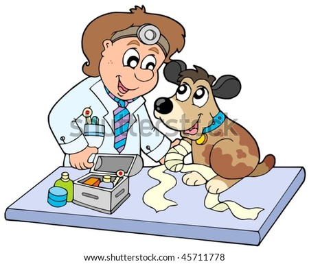 Dog with sick paw at veterinarian - vector illustration. - stock vector
