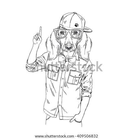 Doggy Hipster Point Out Up Furry Art Illustration Fashion Animals