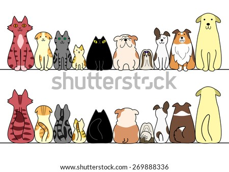 dogs and cats in a row with copy space,front and back - stock vector