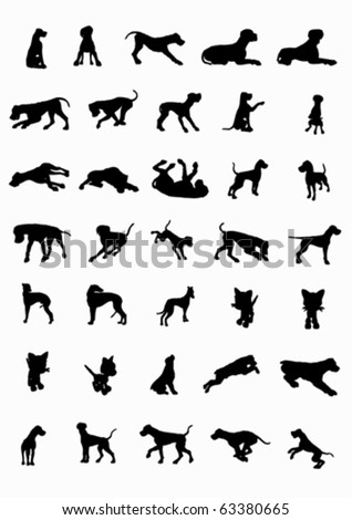 Dogs and cats siluetes in movement  (vector) - stock vector