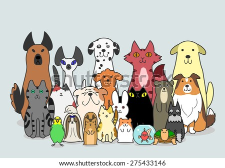 dogs, cats and small animals group - stock vector