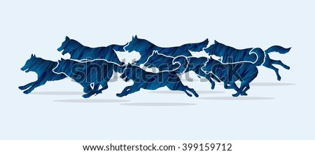 Dogs running designed using blue grunge brush graphic vector.