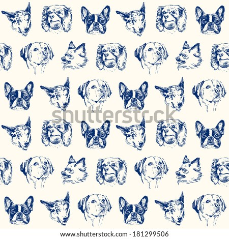 Dogs seamless pattern - stock vector