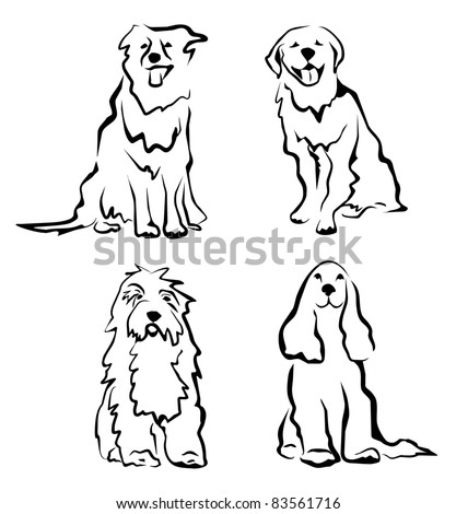 dogs set of silhouettes in simple black lines - stock vector
