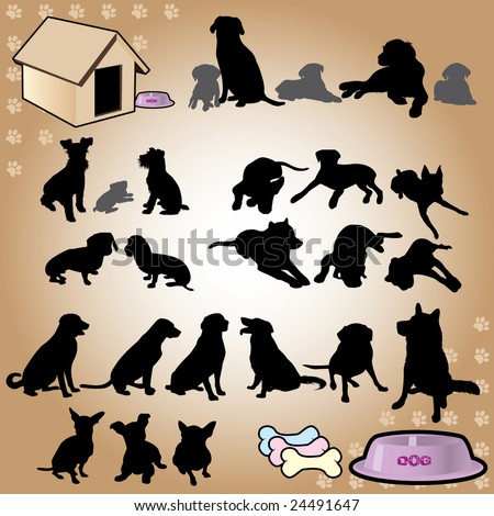 dogs silhouette part 3 of 3:dog's style - stock vector