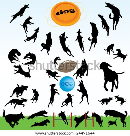 dogs silhouette part 1 of 3:happy dog's play - stock vector