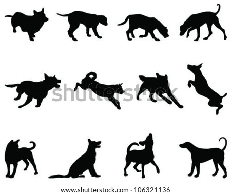 Dogs silhouette, vector - stock vector
