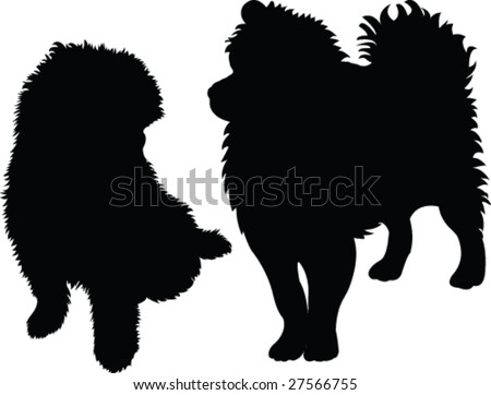dogs silhouette - vector - stock vector
