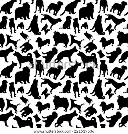 Dogs Silhouettes Seamless - stock vector