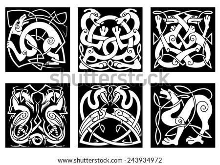 dogs celtic ornament medieval tattoo design stock illustration 144684782 shutterstock. Black Bedroom Furniture Sets. Home Design Ideas