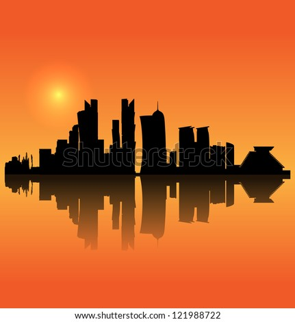 Doha vector silhouette skyline - stock vector
