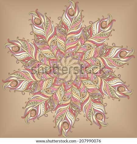 Doily round lace pattern - stock vector