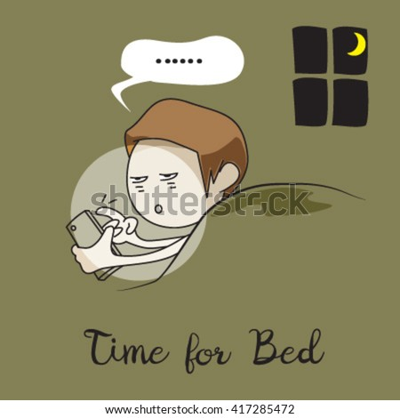 doing mobile phone in the bed before sleep - stock vector