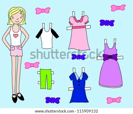 Doll clothing set - stock vector