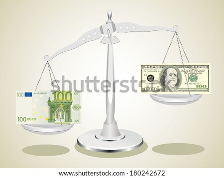 dollar and euro on scales  - stock vector