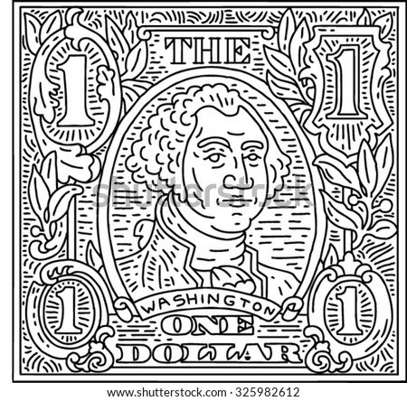 Dollar Bill vector lines