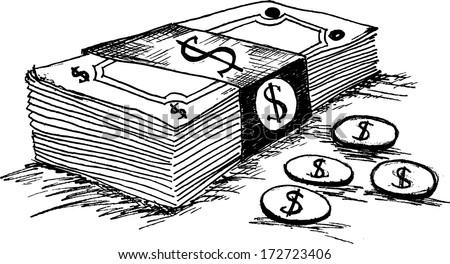 Dollar cash money icon - stock vector