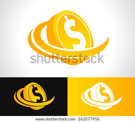 Dollar coin logo icon with swoosh graphic element - stock vector