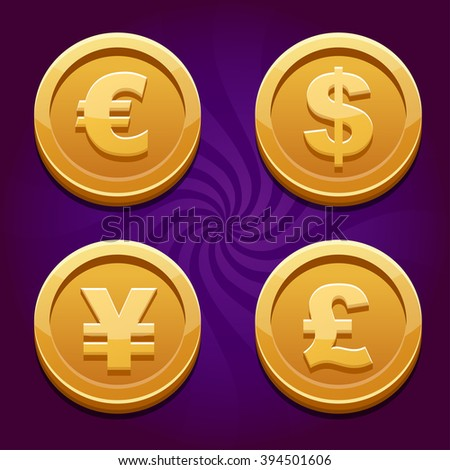 Dollar, Euro, Pound and Yen, gold coins - stock vector