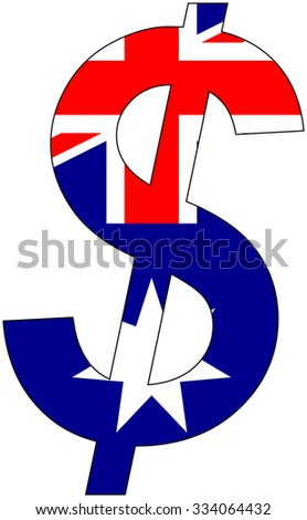 Dollar - Flag of Australia - currency, valuta, anchor currency - stock vector