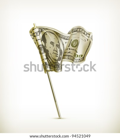 Dollar flag, vector - stock vector