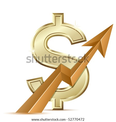 Dollar growth. Growth Chart with dollar sign. Exchange rate. - stock vector