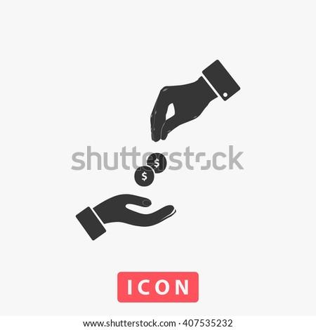 dollar hand Icon.  - stock vector