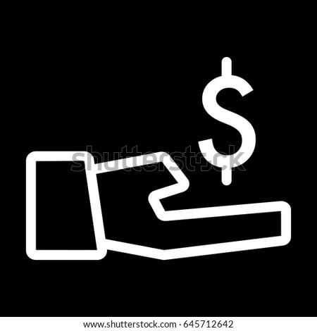 dollar in hand vector icon. Black and white money illustration. Contour linear banking icon.