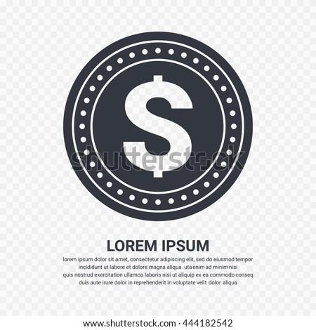 Dollar money coin icon - Vector - stock vector