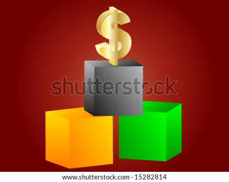 Dollar on the top - stock vector