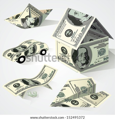Dollar paper origami objects. Vector set.