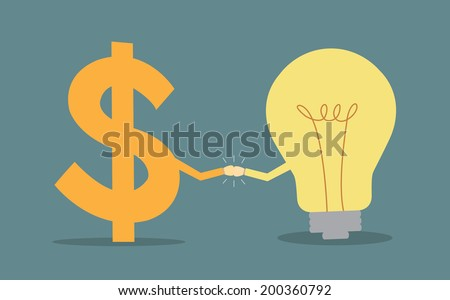 dollar sign and light bulb two fists punching each other cooperation concept - stock vector