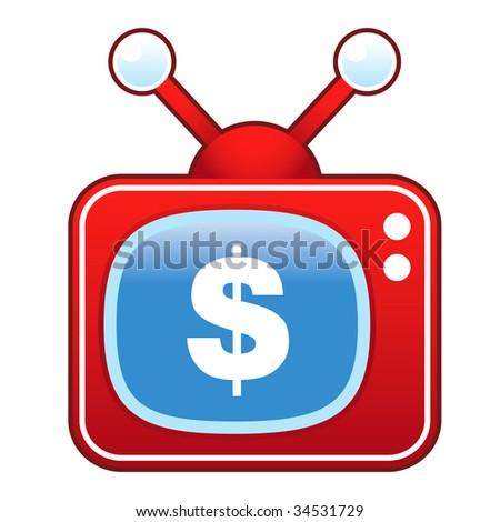 Dollar sign icon on retro television set - stock vector