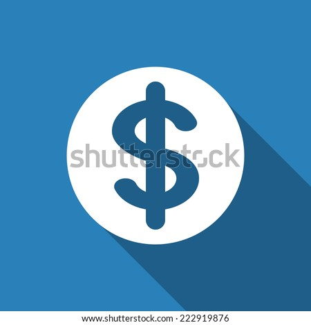 dollar sign icon with long shadow - stock vector