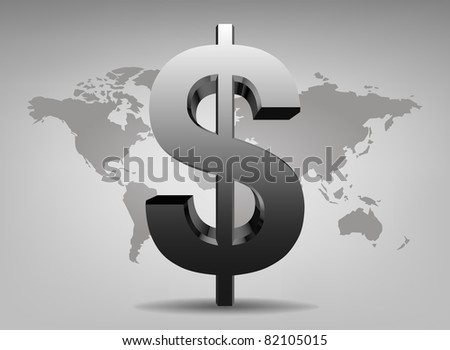 Dollar sign on a background map of the world - stock vector
