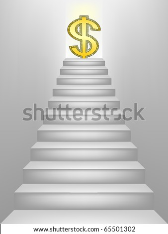 Dollar sign on top of the stairs - stock vector