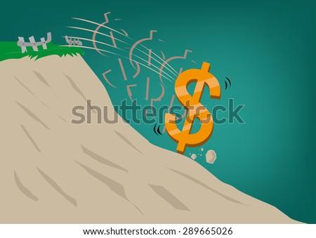 Dollar Sign tumbling down a hill. Weak Dollar rate. Editable Clip art. - stock vector