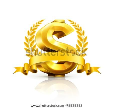 Dollar sign, vector emblem - stock vector