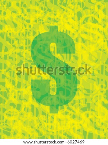 dollar sign with collection of dollar signs in background - stock vector