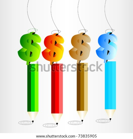 Dollar sign with pencil - stock vector